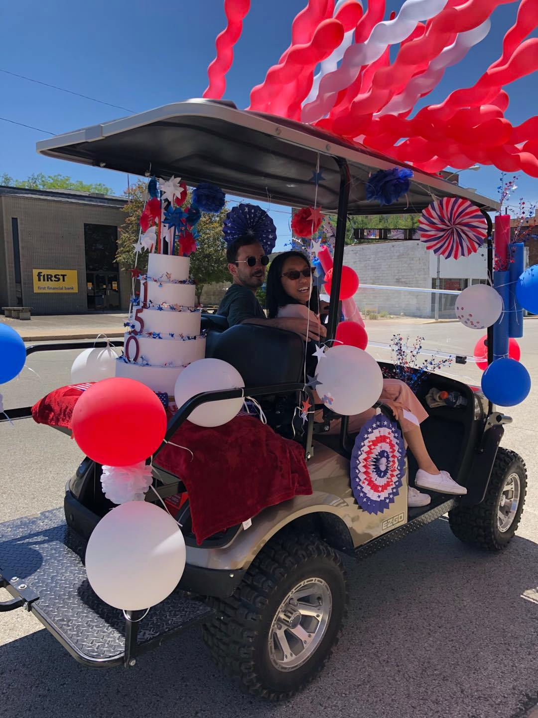 """1st Place for best decorated cart """"Birthday Cake"""". Winners lead the parade to McFerren Park, where an ice cream social was hosted by the Historic Preservation Commission. All attendees receive a free ice cream from the Hoopeston Rotary Club."""