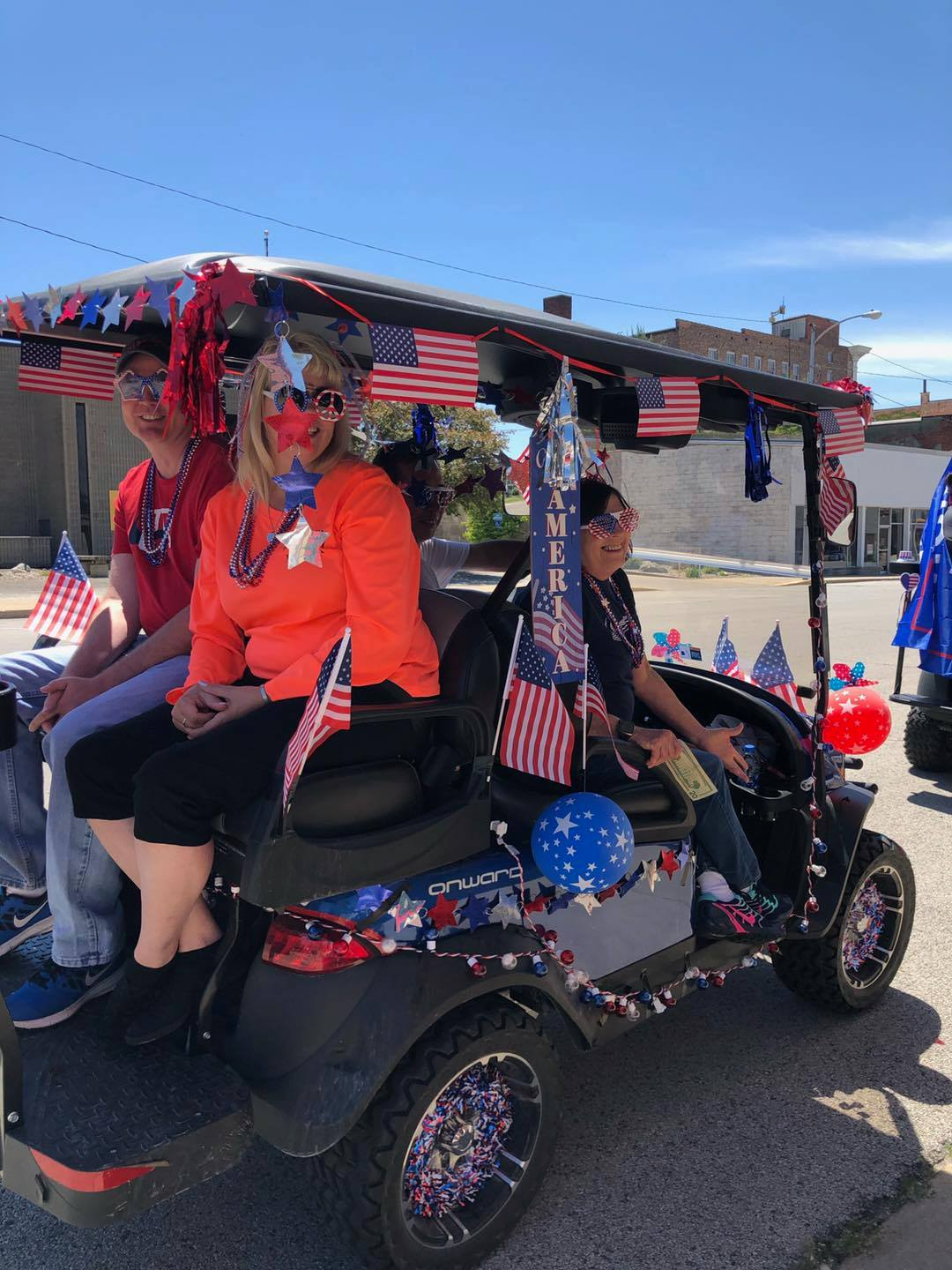 """2nd Place finish for best decorated golf cart was """"Stars"""