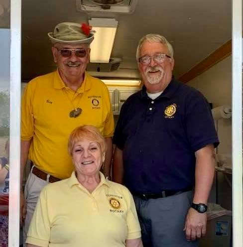 Hoopeston Rotary serving ice cream at McFerren Park during the day's festivities.